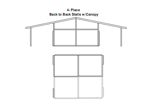 Custom horse Stalls Building End View 5